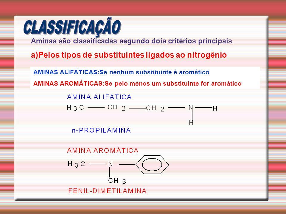 CLASSIFICAÇÃO a)Pelos tipos de substituintes ligados ao nitrogênio
