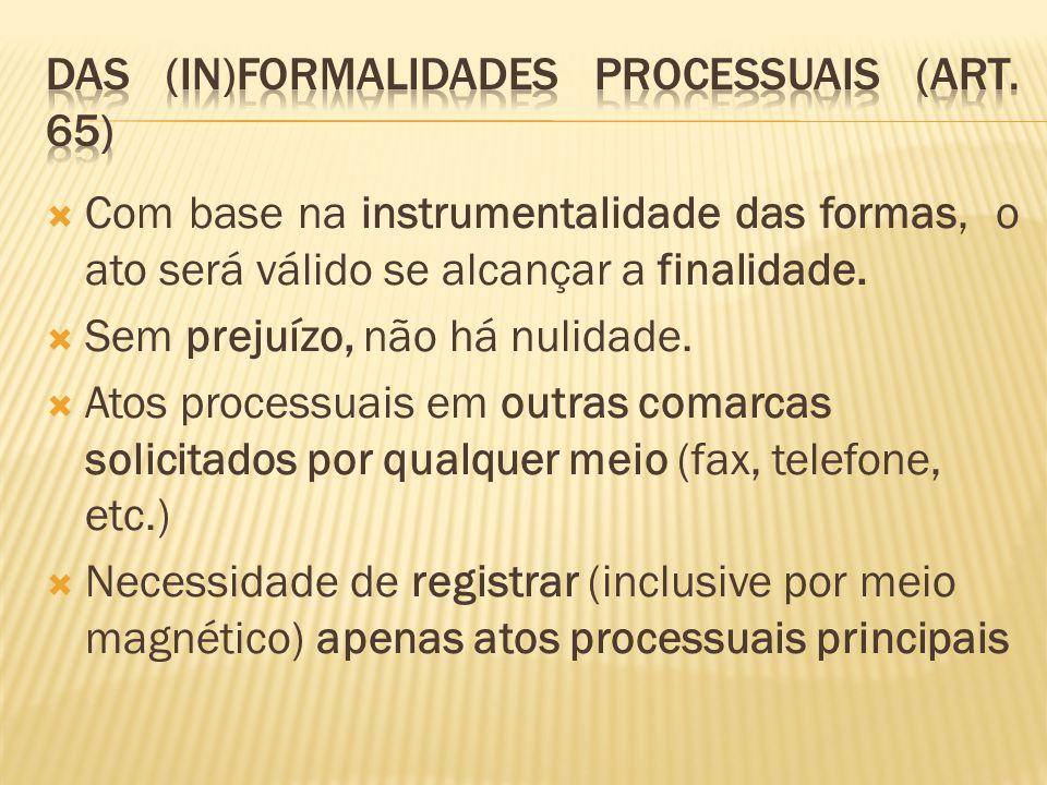 DAS (IN)FORMALIDADES PROCESSUAIS (ART. 65)