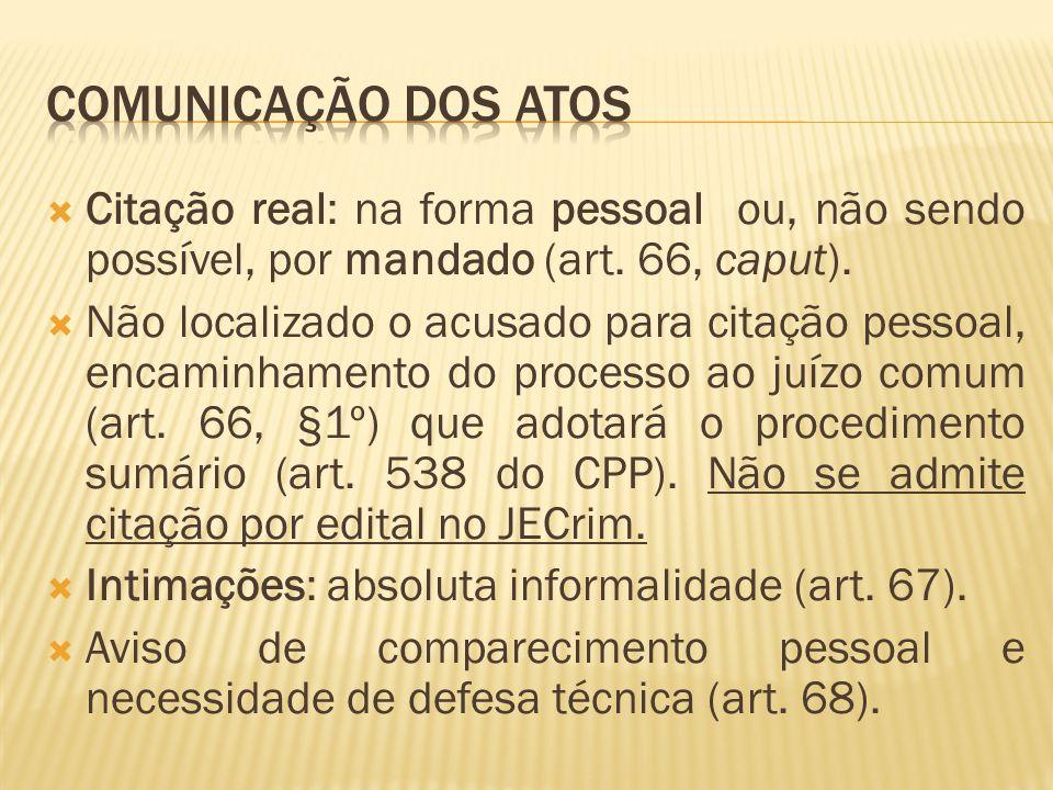 Comunicação dos atos Citação real: na forma pessoal ou, não sendo possível, por mandado (art. 66, caput).