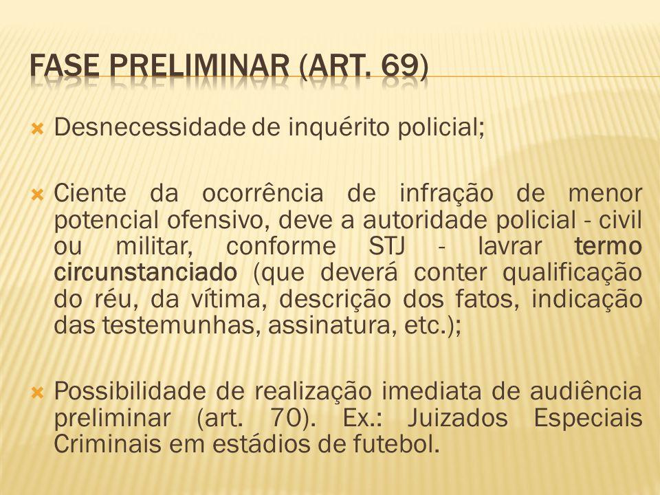Fase preliminar (art. 69) Desnecessidade de inquérito policial;