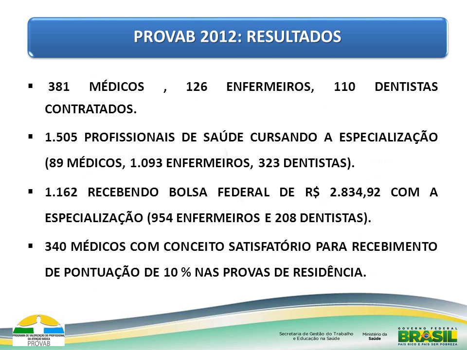 PROVAB 2012: RESULTADOS 381 MÉDICOS , 126 ENFERMEIROS, 110 DENTISTAS CONTRATADOS.