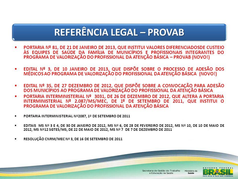 REFERÊNCIA LEGAL – PROVAB