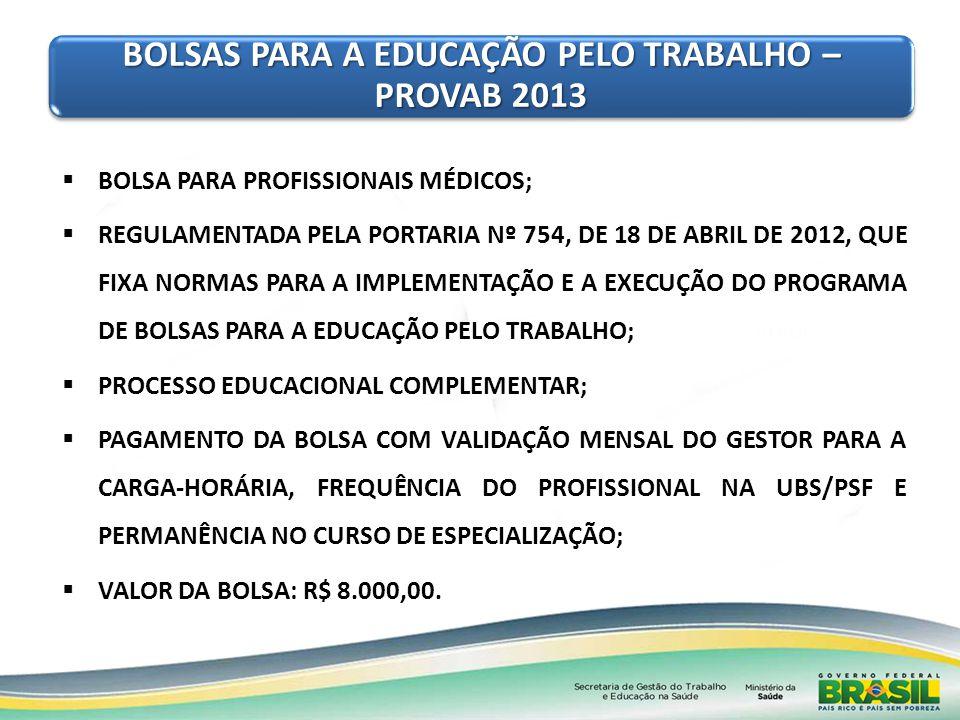 BOLSAS PARA A EDUCAÇÃO PELO TRABALHO – PROVAB 2013