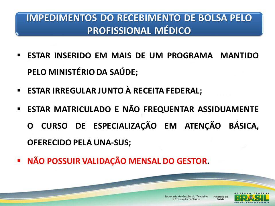 IMPEDIMENTOS DO RECEBIMENTO DE BOLSA PELO PROFISSIONAL MÉDICO