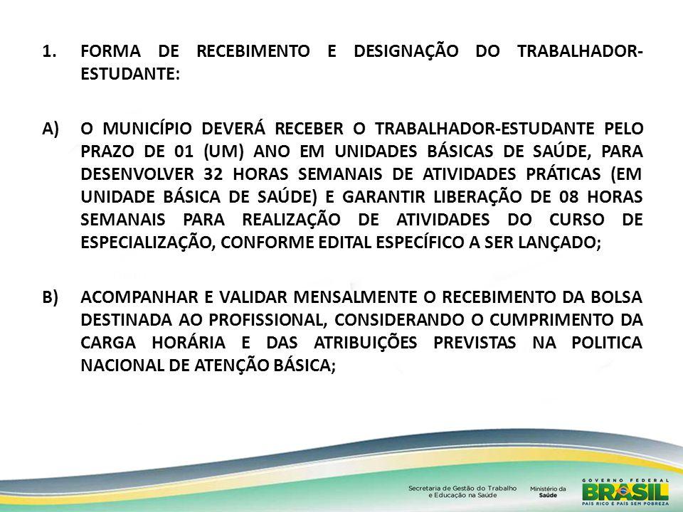 FORMA DE RECEBIMENTO E DESIGNAÇÃO DO TRABALHADOR-ESTUDANTE: