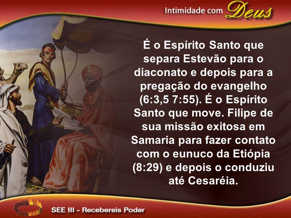 É o Espírito Santo que separa Estevão para o diaconato e depois para a pregação do evangelho (6:3,5 7:55).
