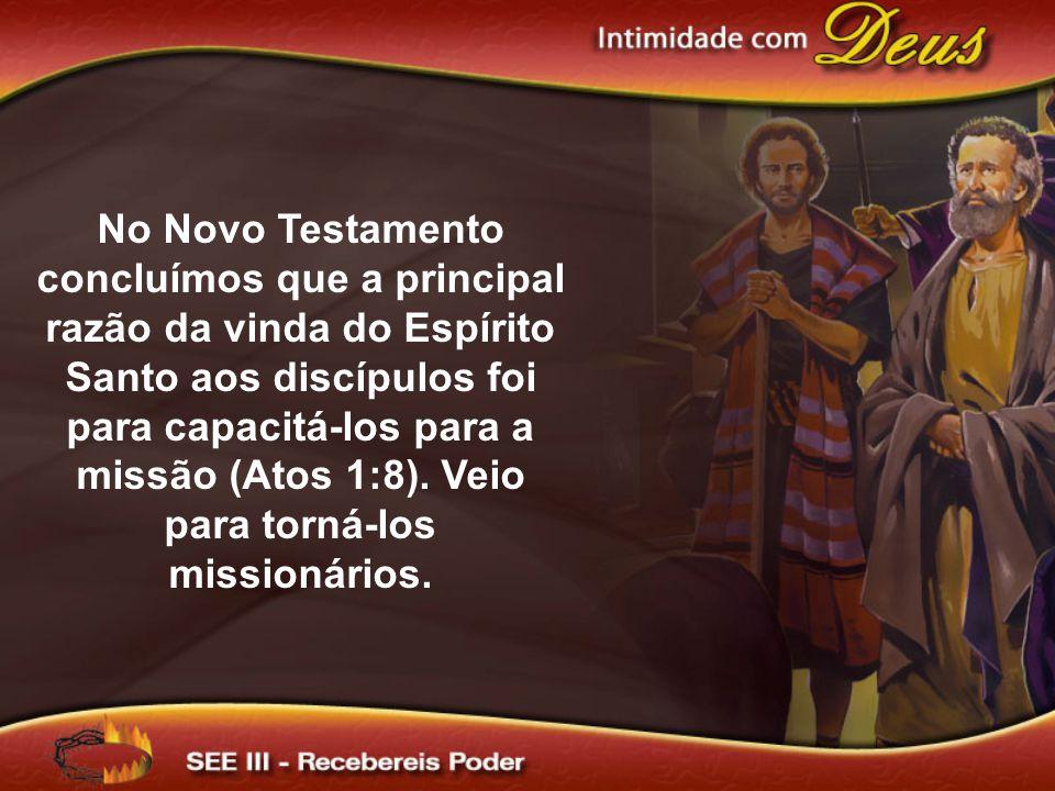 No Novo Testamento concluímos que a principal razão da vinda do Espírito Santo aos discípulos foi para capacitá-los para a missão (Atos 1:8).