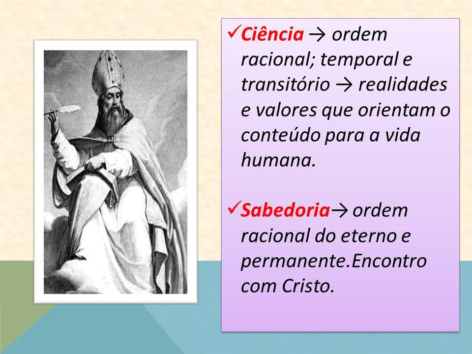 Ciência → ordem racional; temporal e transitório → realidades e valores que orientam o conteúdo para a vida humana.
