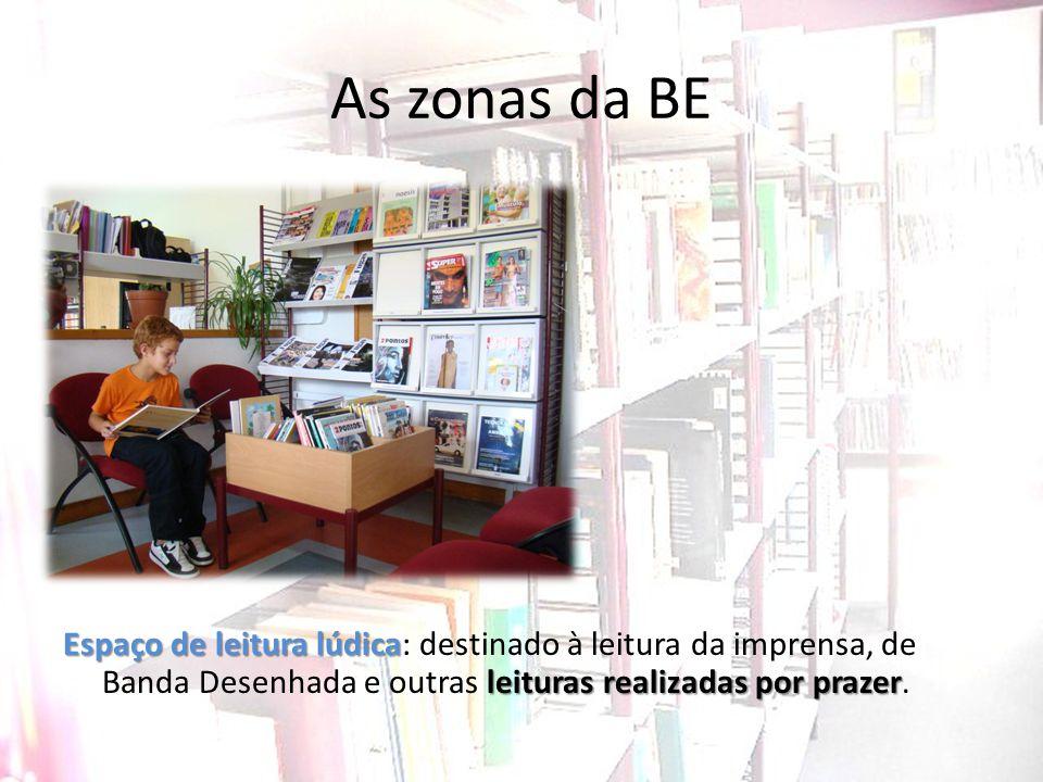 As zonas da BE Espaço de leitura lúdica: destinado à leitura da imprensa, de Banda Desenhada e outras leituras realizadas por prazer.