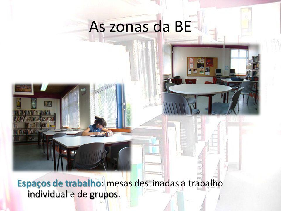 As zonas da BE Espaços de trabalho: mesas destinadas a trabalho individual e de grupos.