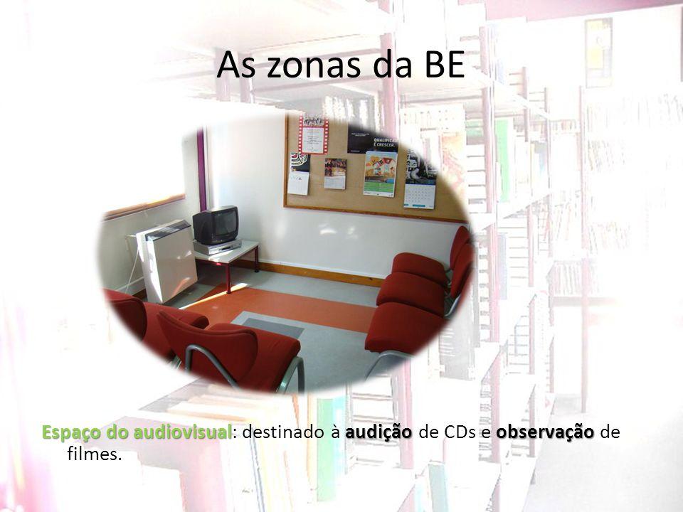 As zonas da BE Espaço do audiovisual: destinado à audição de CDs e observação de filmes.