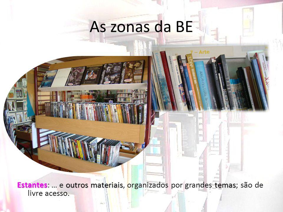 As zonas da BE Estantes: … e outros materiais, organizados por grandes temas; são de livre acesso.