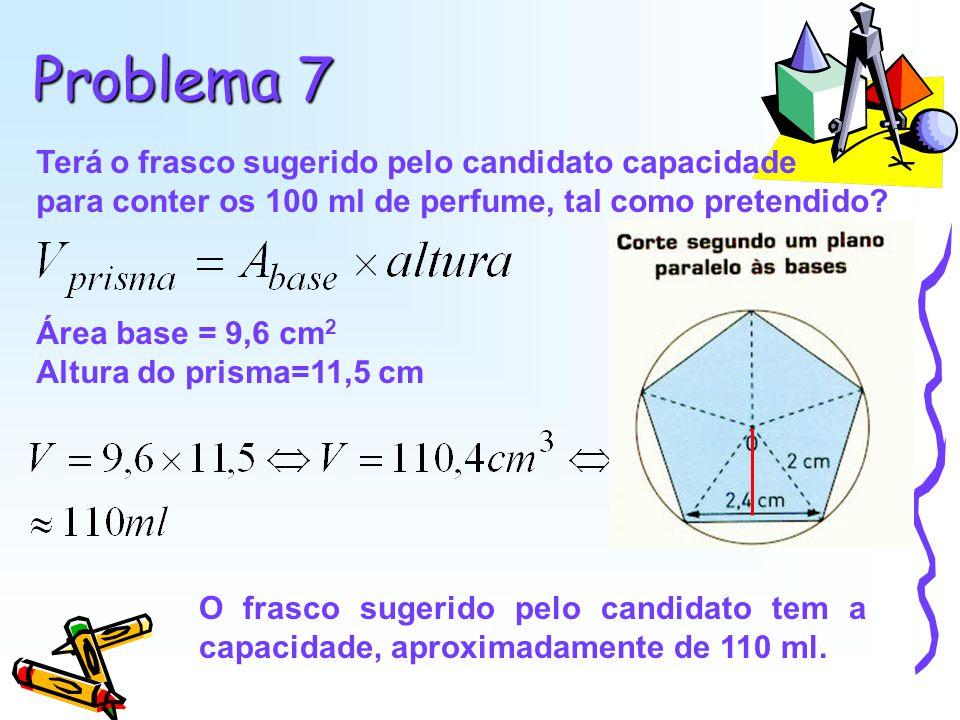Problema 7 Terá o frasco sugerido pelo candidato capacidade