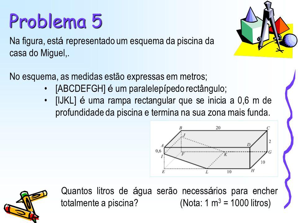 Problema 5 Na figura, está representado um esquema da piscina da