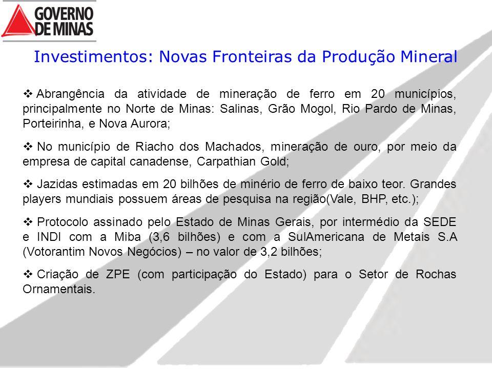 Investimentos: Novas Fronteiras da Produção Mineral