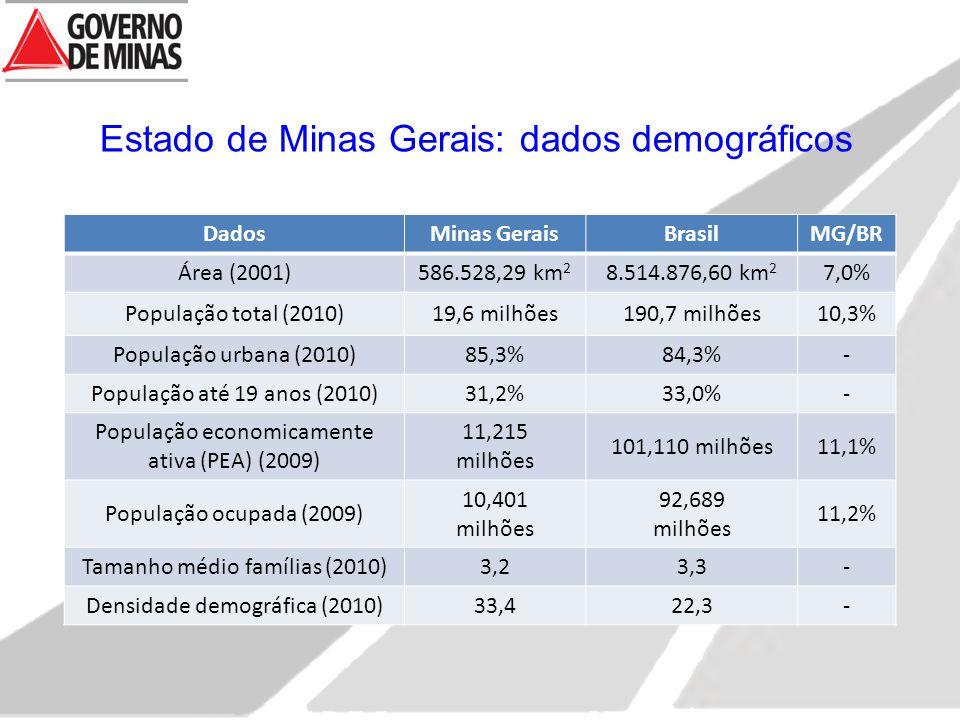 Estado de Minas Gerais: dados demográficos
