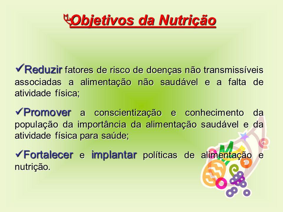 Objetivos da Nutrição Reduzir fatores de risco de doenças não transmissíveis associadas a alimentação não saudável e a falta de atividade física;