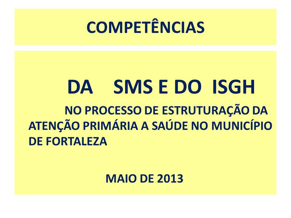 DA SMS E DO ISGH COMPETÊNCIAS