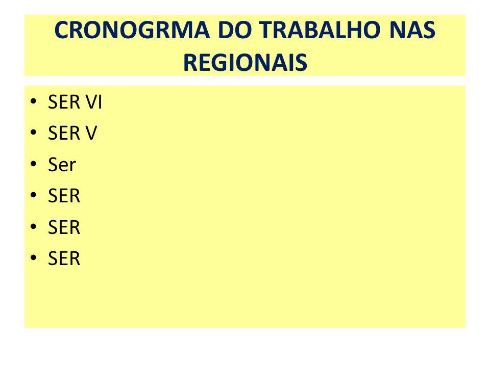 CRONOGRMA DO TRABALHO NAS REGIONAIS