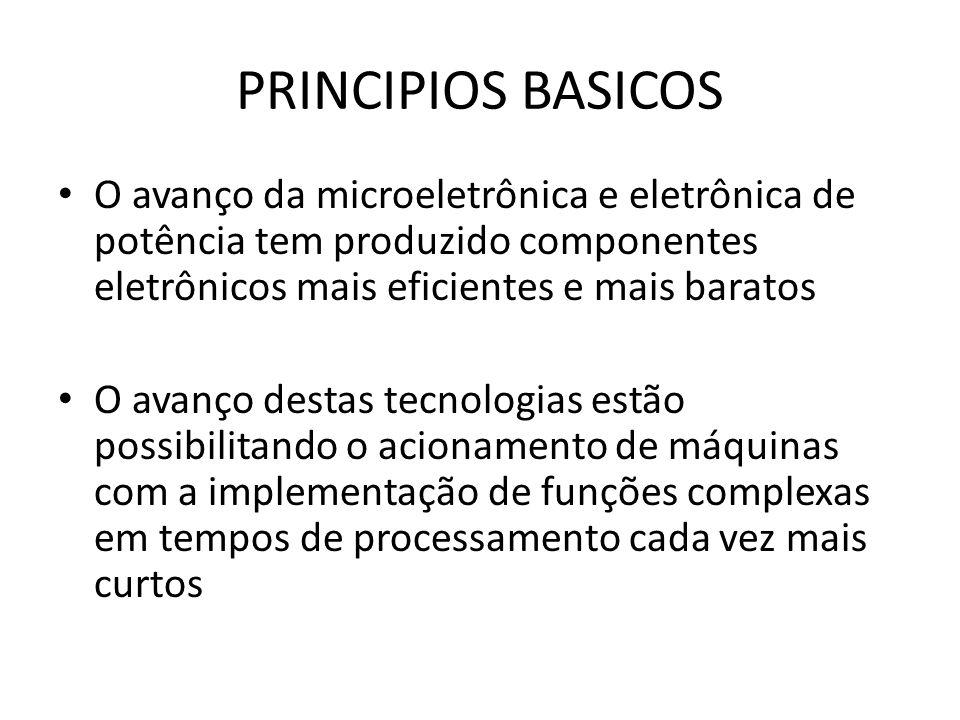 PRINCIPIOS BASICOS O avanço da microeletrônica e eletrônica de potência tem produzido componentes eletrônicos mais eficientes e mais baratos.