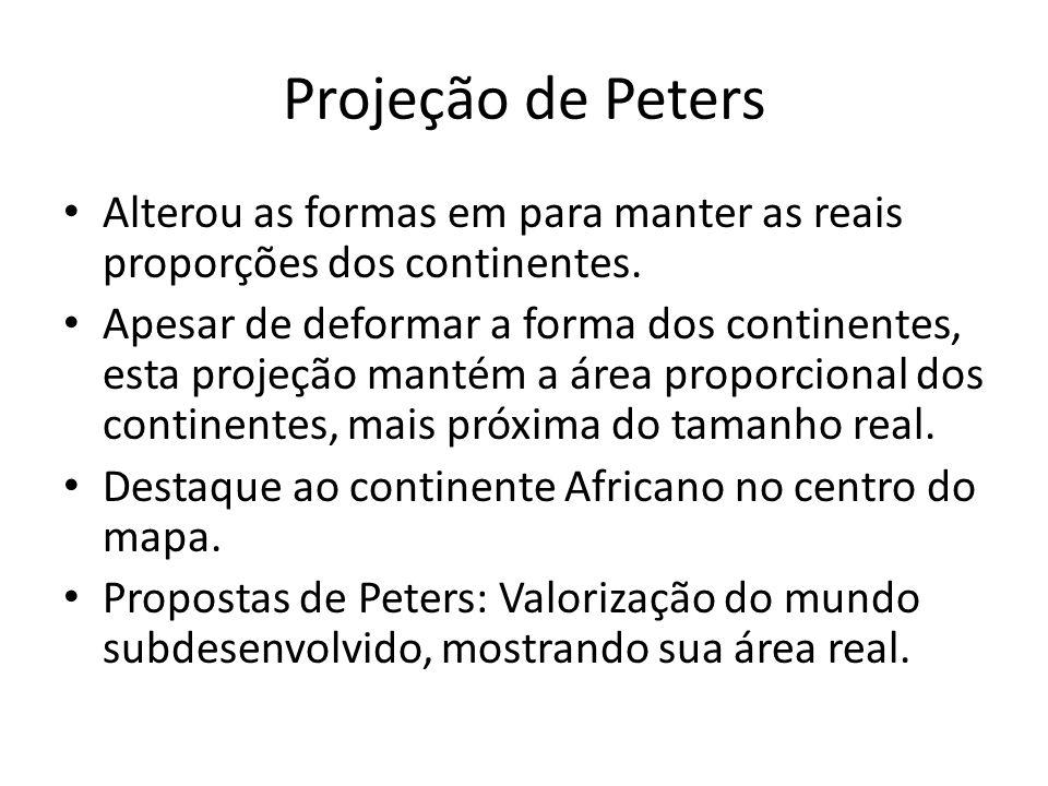 Projeção de Peters Alterou as formas em para manter as reais proporções dos continentes.