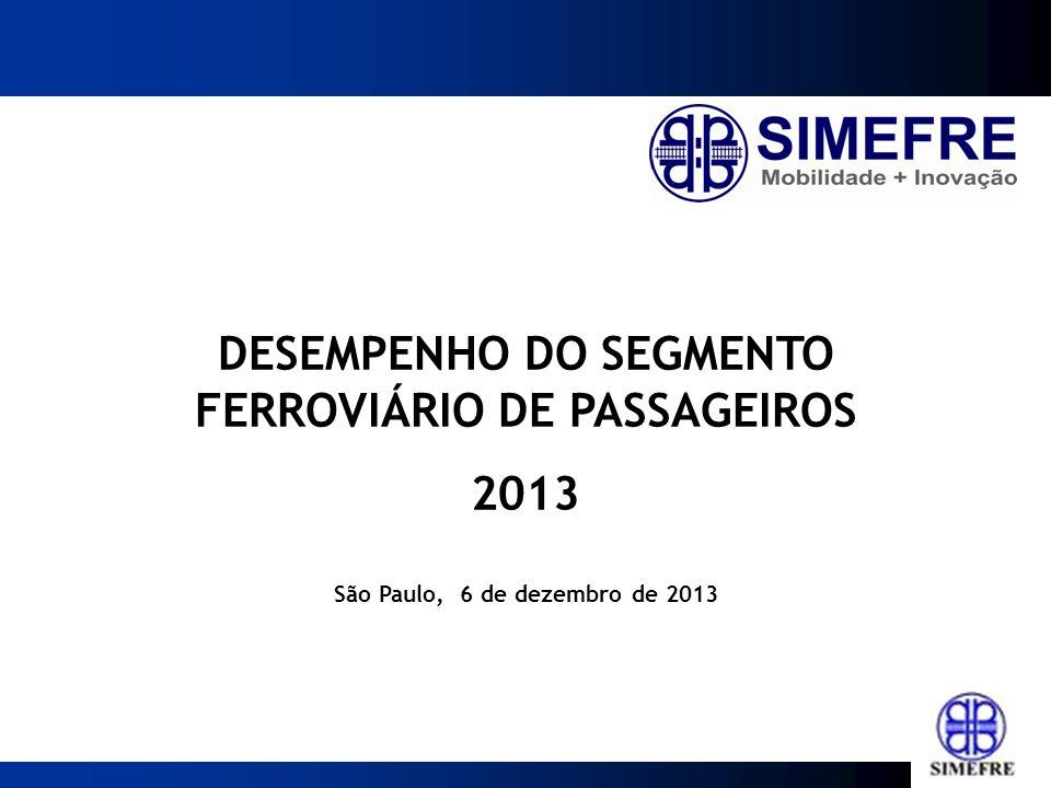 DESEMPENHO DO SEGMENTO FERROVIÁRIO DE PASSAGEIROS 2013