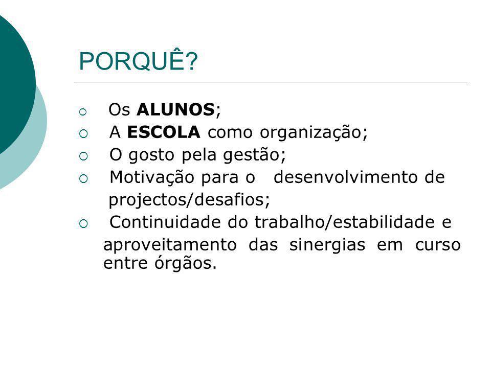 PORQUÊ A ESCOLA como organização; O gosto pela gestão;