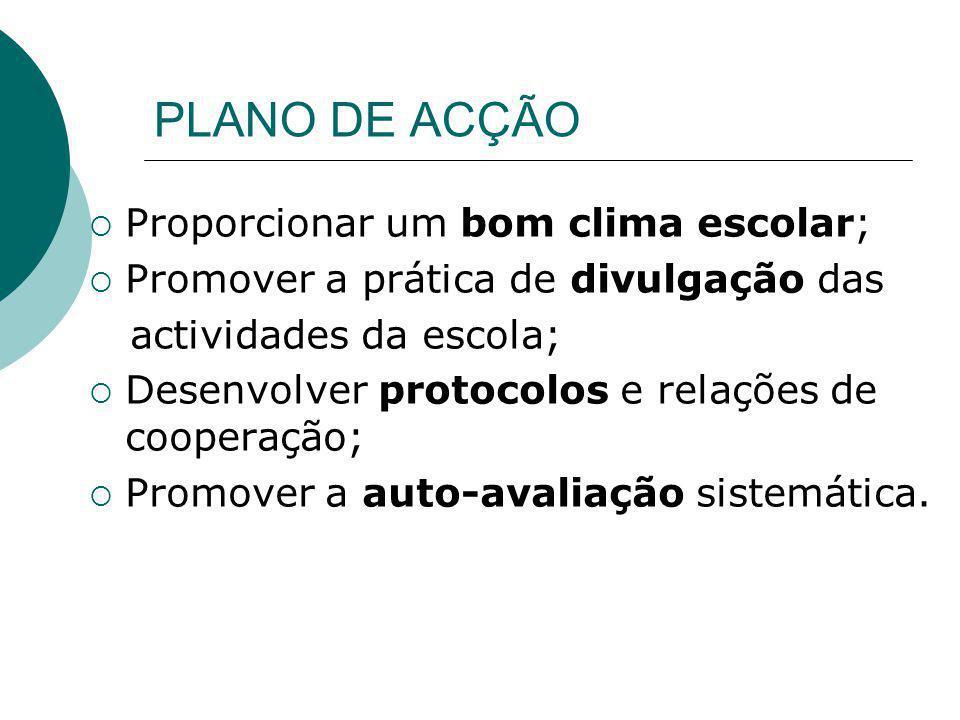PLANO DE ACÇÃO Proporcionar um bom clima escolar;