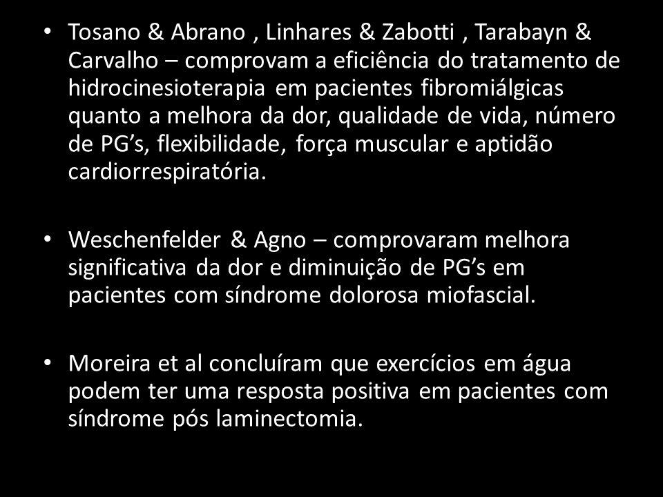 Tosano & Abrano , Linhares & Zabotti , Tarabayn & Carvalho – comprovam a eficiência do tratamento de hidrocinesioterapia em pacientes fibromiálgicas quanto a melhora da dor, qualidade de vida, número de PG's, flexibilidade, força muscular e aptidão cardiorrespiratória.