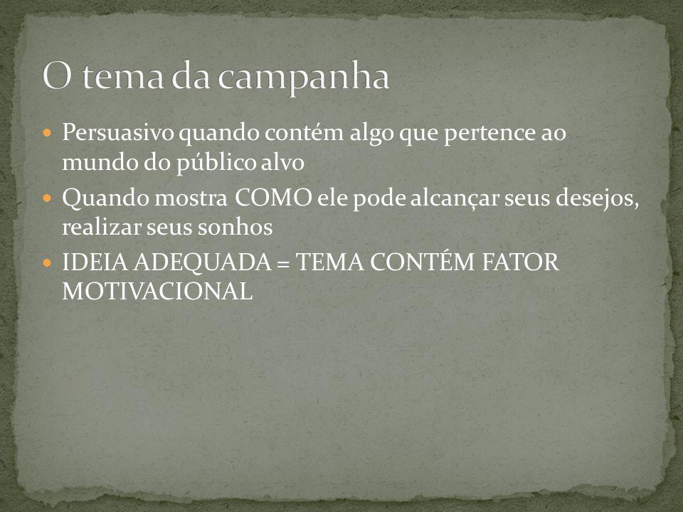 O tema da campanha Persuasivo quando contém algo que pertence ao mundo do público alvo.