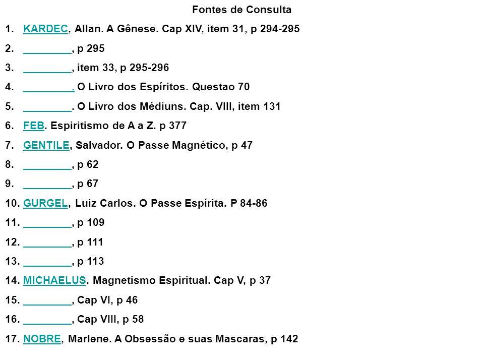 Fontes de Consulta KARDEC, Allan. A Gênese. Cap XIV, item 31, p 294-295. ________, p 295. ________, item 33, p 295-296.