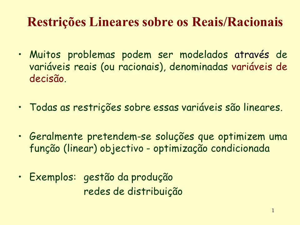 Restrições Lineares sobre os Reais/Racionais