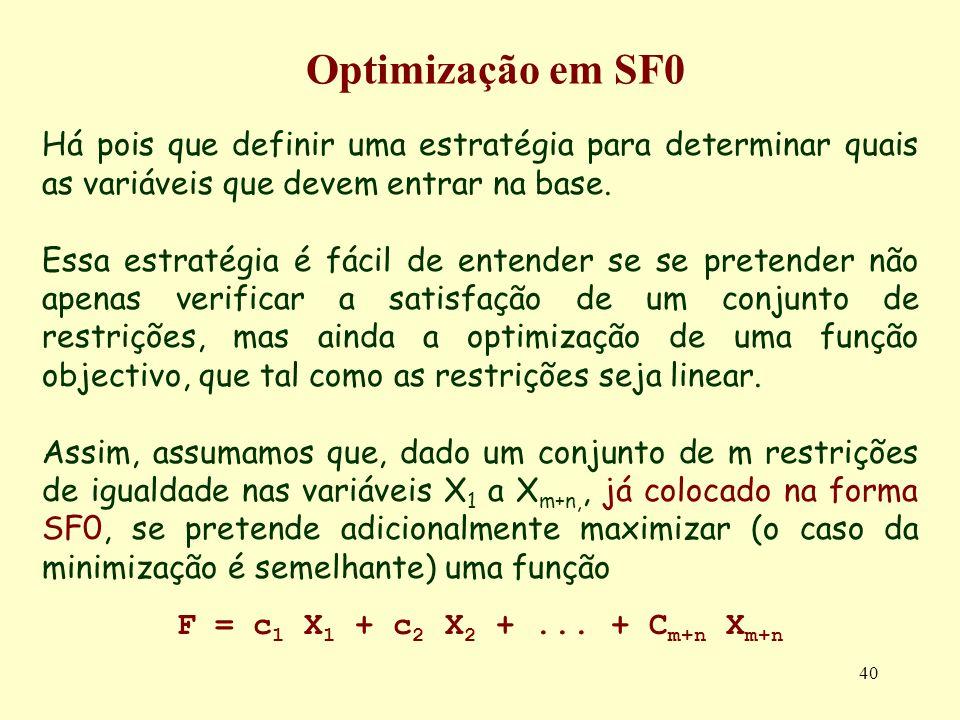 Optimização em SF0 Há pois que definir uma estratégia para determinar quais as variáveis que devem entrar na base.