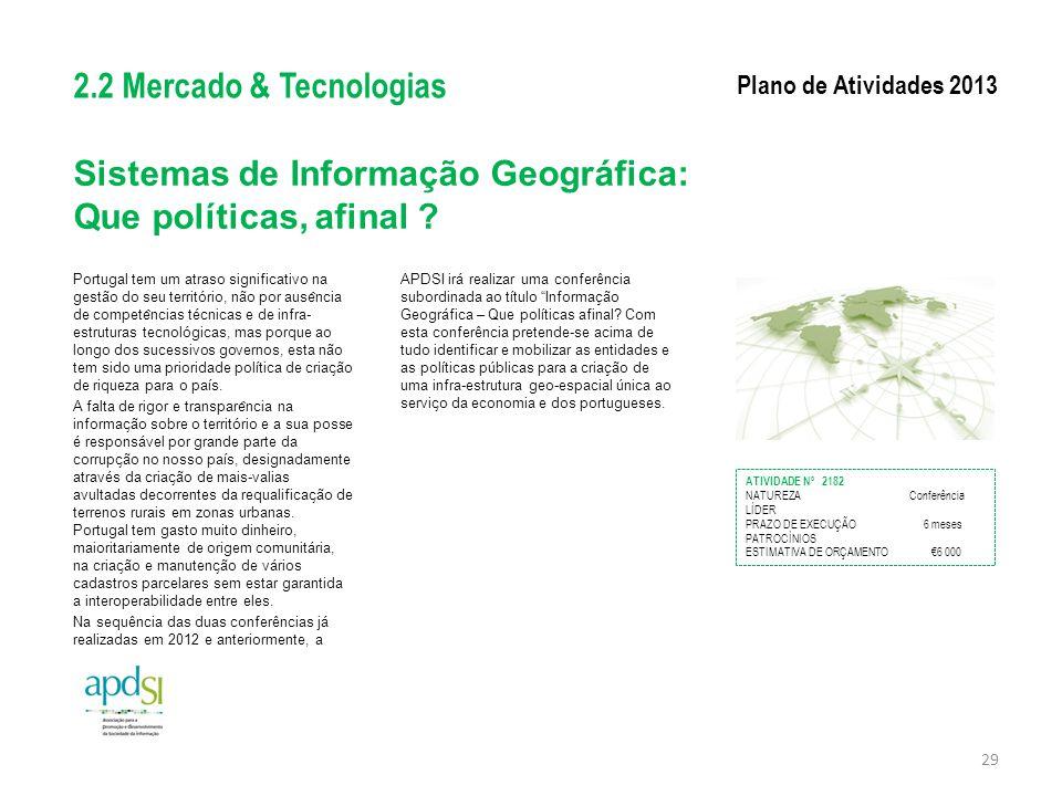 Sistemas de Informação Geográfica: Que políticas, afinal