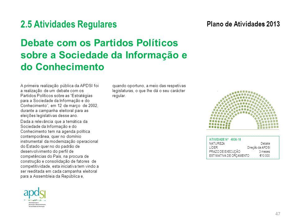 2.5 Atividades Regulares Plano de Atividades 2013. Debate com os Partidos Políticos sobre a Sociedade da Informação e do Conhecimento.