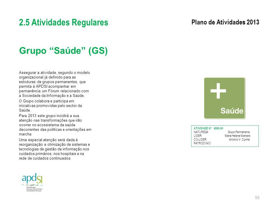 2.5 Atividades Regulares Grupo Saúde (GS) Plano de Atividades 2013
