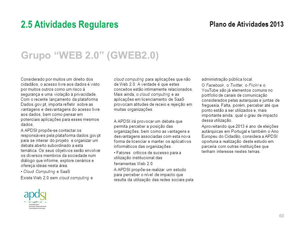 2.5 Atividades Regulares Grupo WEB 2.0 (GWEB2.0)