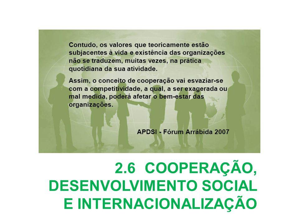 2.6 COOPERAÇÃO, DESENVOLVIMENTO SOCIAL E INTERNACIONALIZAÇÃO