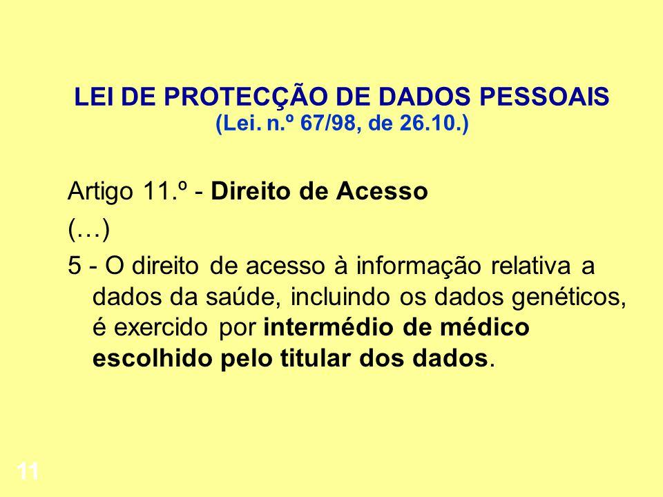 LEI DE PROTECÇÃO DE DADOS PESSOAIS (Lei. n.º 67/98, de 26.10.)