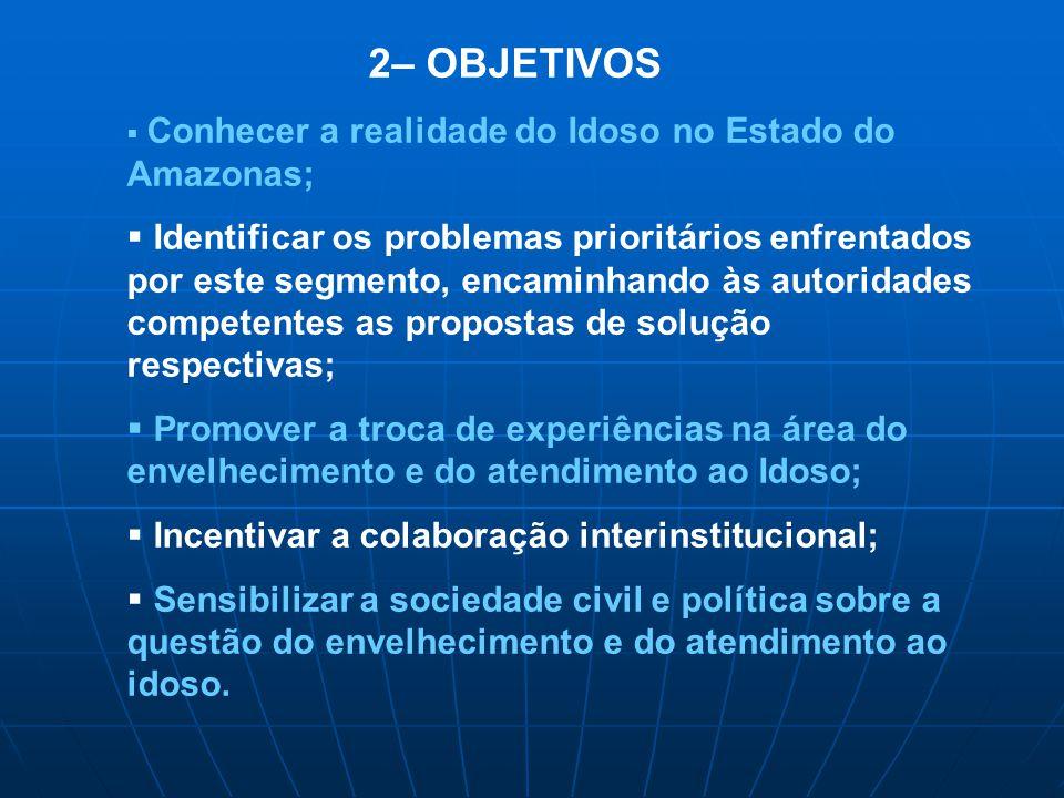 2– OBJETIVOS Conhecer a realidade do Idoso no Estado do Amazonas;