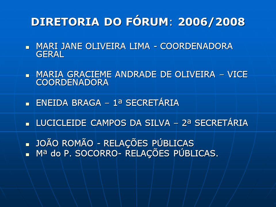 DIRETORIA DO FÓRUM: 2006/2008 MARI JANE OLIVEIRA LIMA - COORDENADORA GERAL. MARIA GRACIEME ANDRADE DE OLIVEIRA – VICE COORDENADORA.