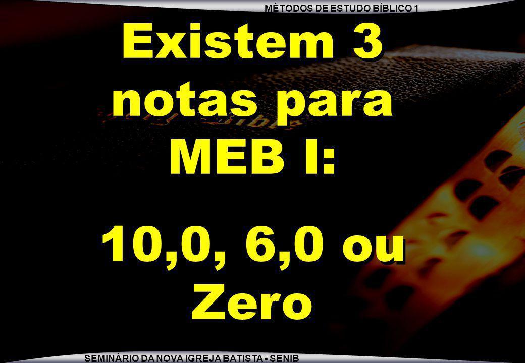 Existem 3 notas para MEB I:
