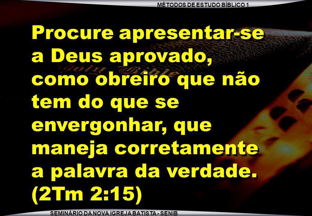 Procure apresentar-se a Deus aprovado, como obreiro que não tem do que se envergonhar, que maneja corretamente a palavra da verdade.