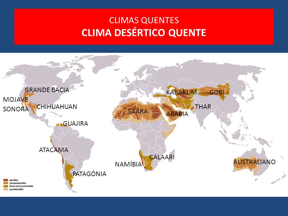 CLIMAS QUENTES CLIMA DESÉRTICO QUENTE