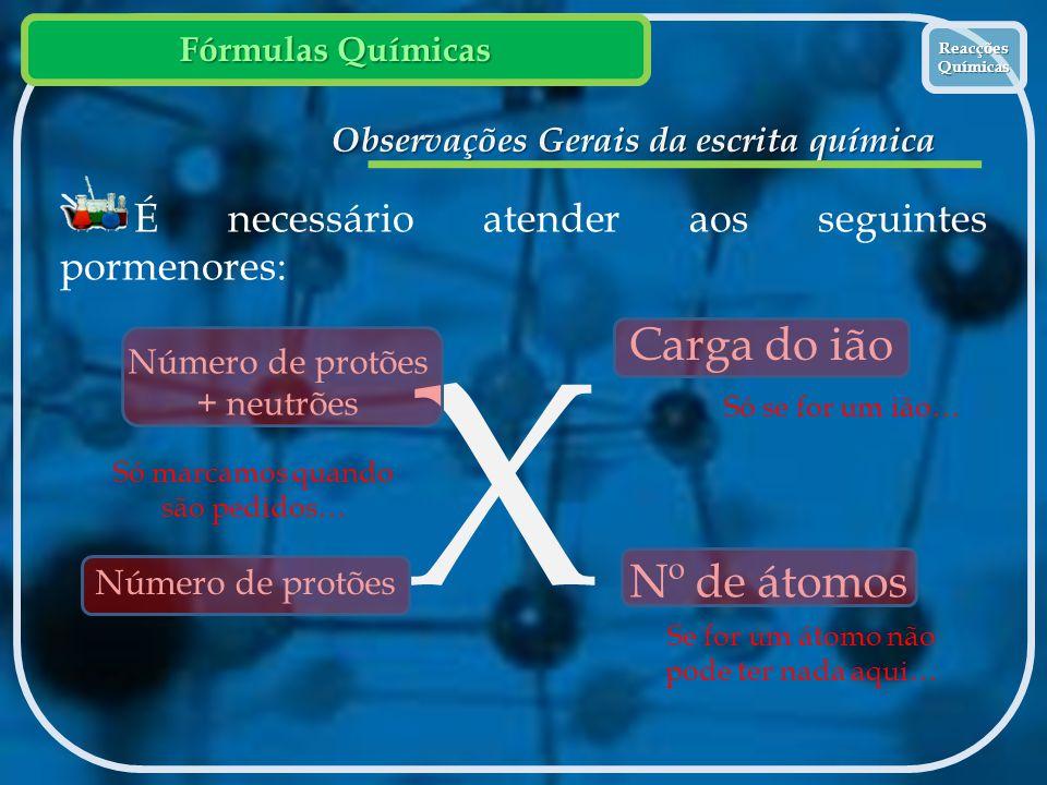 Observações Gerais da escrita química