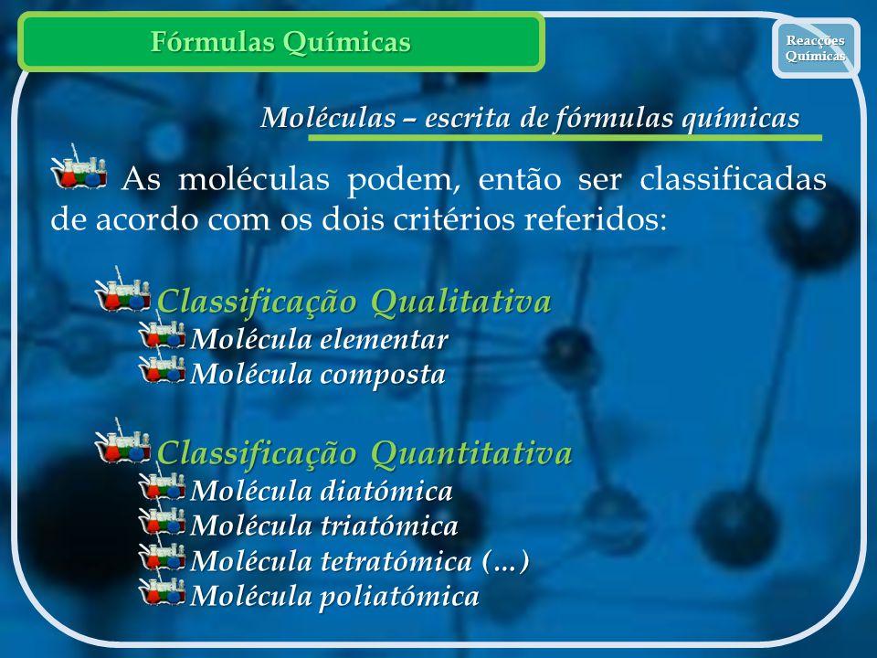 Moléculas – escrita de fórmulas químicas