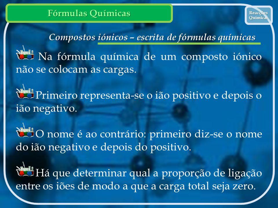 Compostos iónicos – escrita de fórmulas químicas