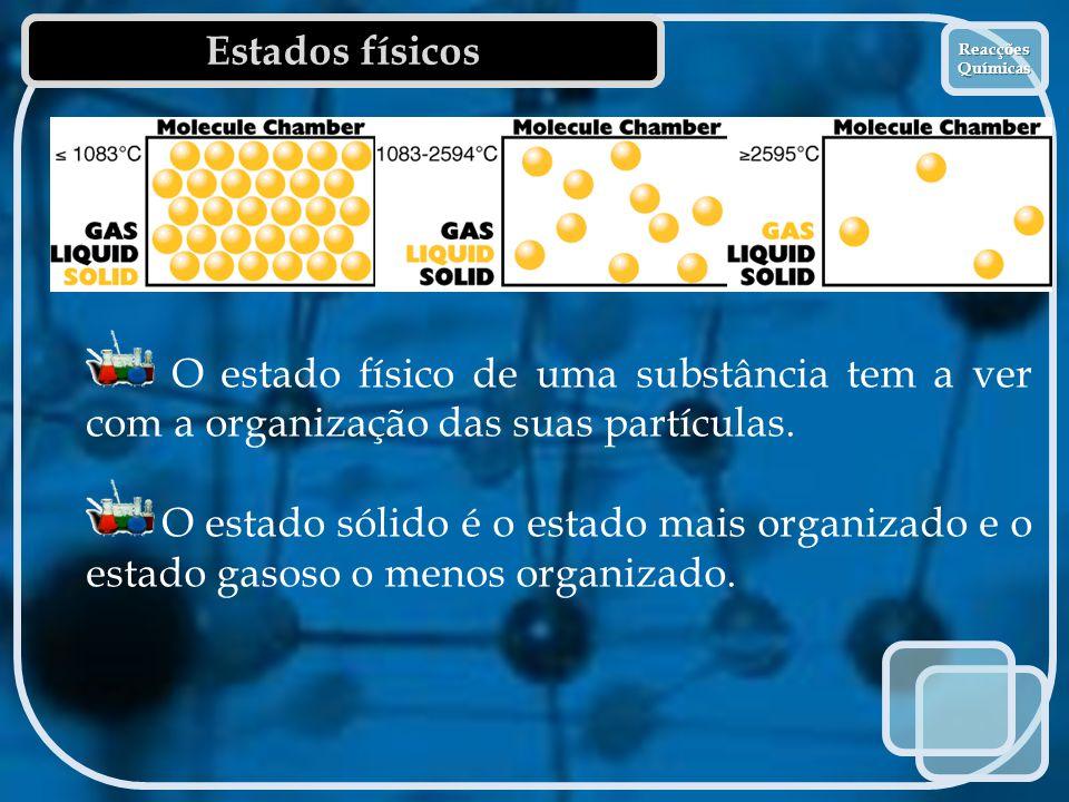 Estados físicos Reacções Químicas. O estado físico de uma substância tem a ver com a organização das suas partículas.