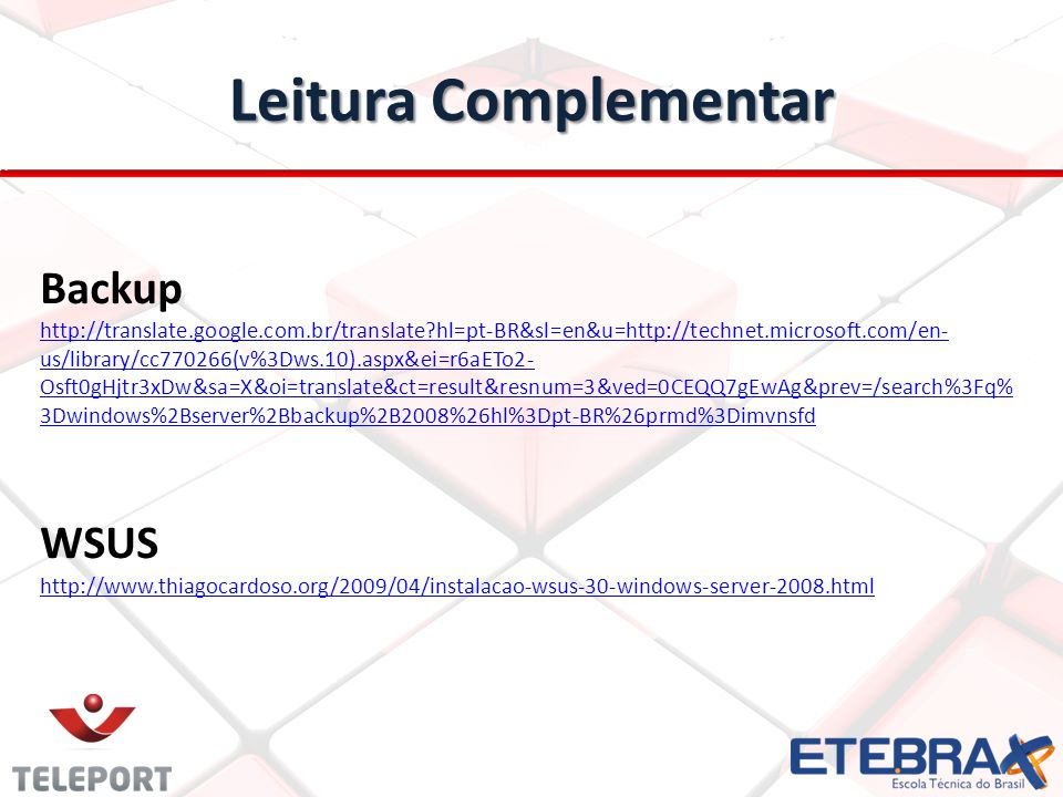 Leitura Complementar Backup WSUS