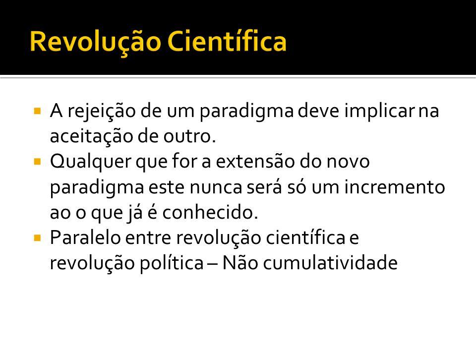 Revolução Científica A rejeição de um paradigma deve implicar na aceitação de outro.